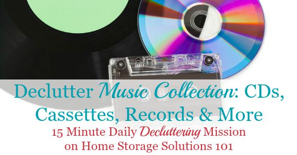 How to #declutter your music collection, including CDs, tapes, records, digital music and more {part of the #Declutter365 missions on Home Storage Solutions 101} #decluttering