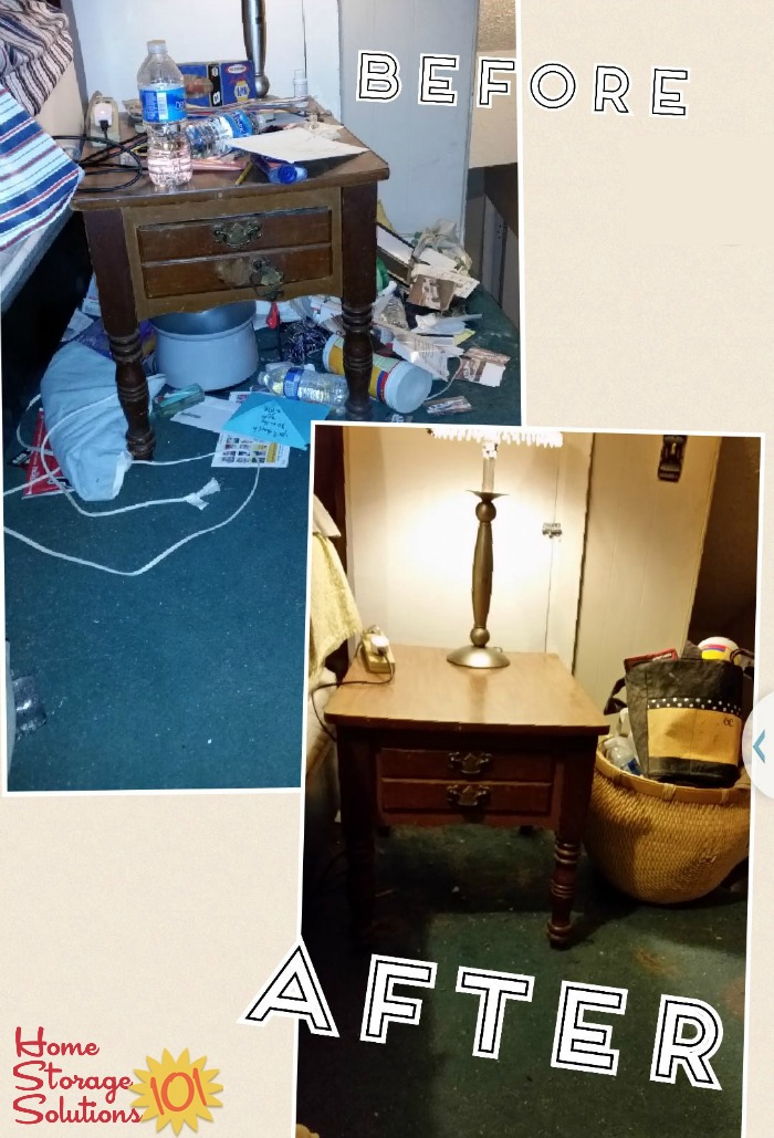 Before and after when Kimberly took the Declutter 365 mission to declutter her nightstand {on Home Storage Solutions 101}