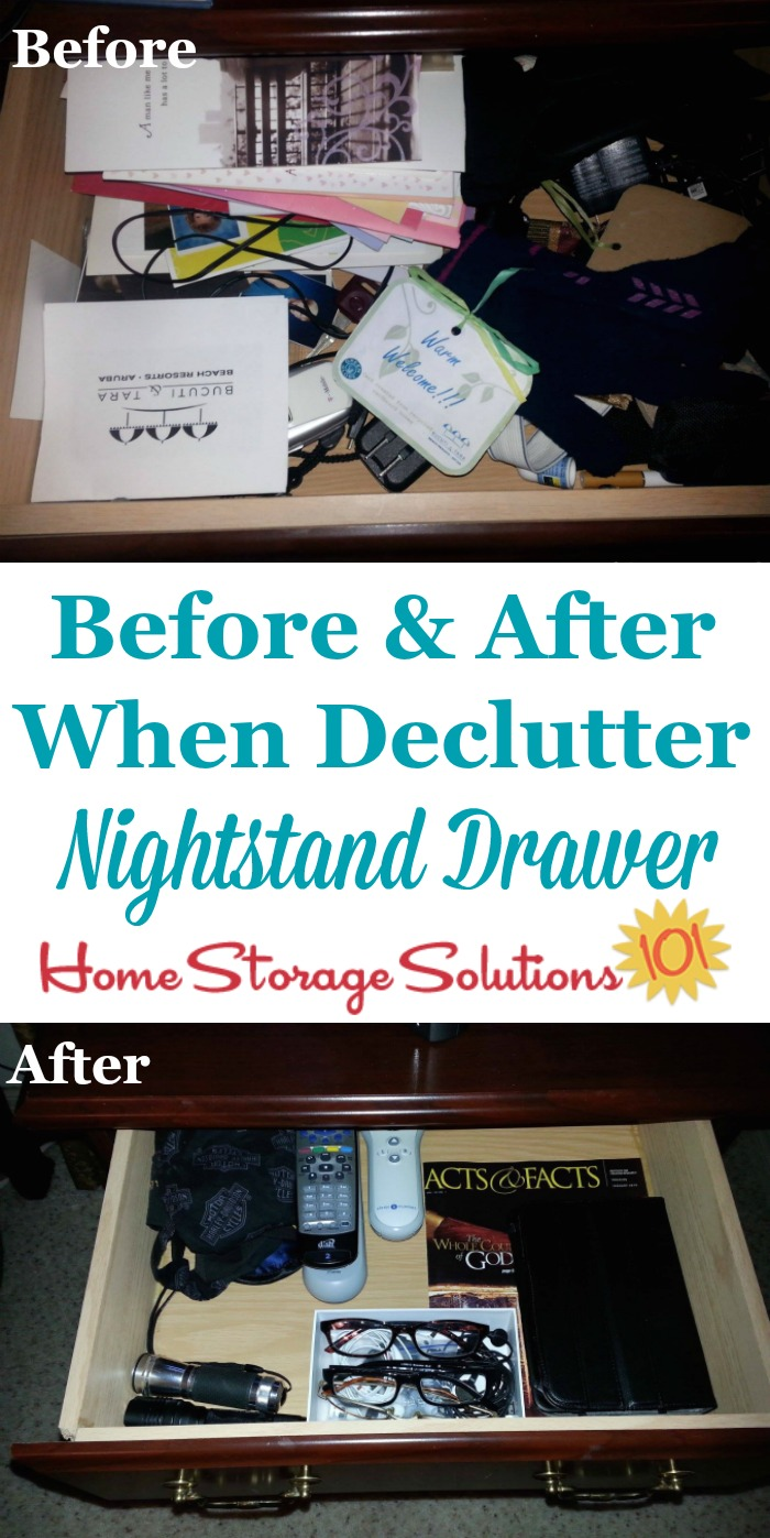 Tips for decluttering your nightstand, including the flat surface top as well as drawers {on Home Storage Solutions 101}
