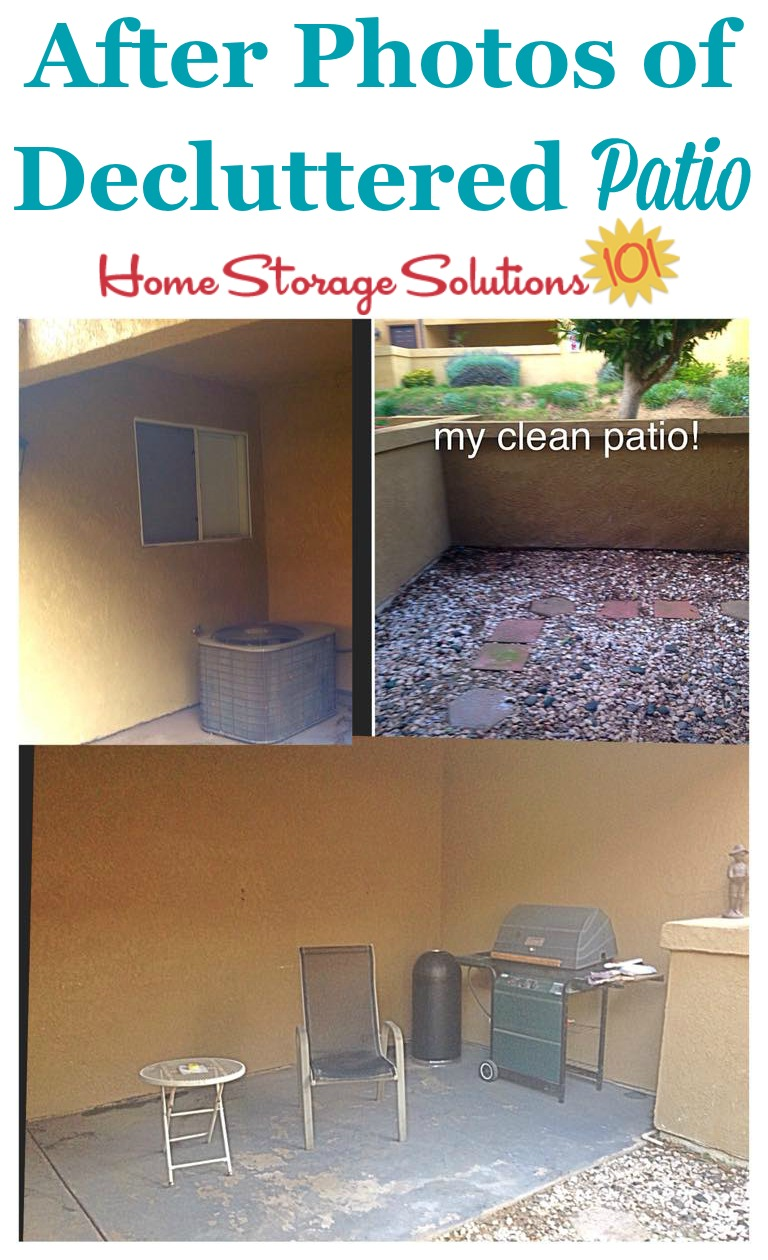 After photos when a reader, Marlo, cleaned and decluttered her patio as part of the #Declutter365 missions on Home Storage Solutions 101