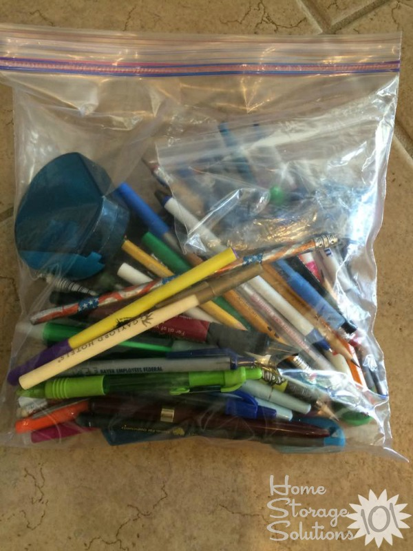 Bag of pencils and pens to donate to the middle school from a reader, Holly, while she did the #Declutter365 missions on Home Storage Solutions 101