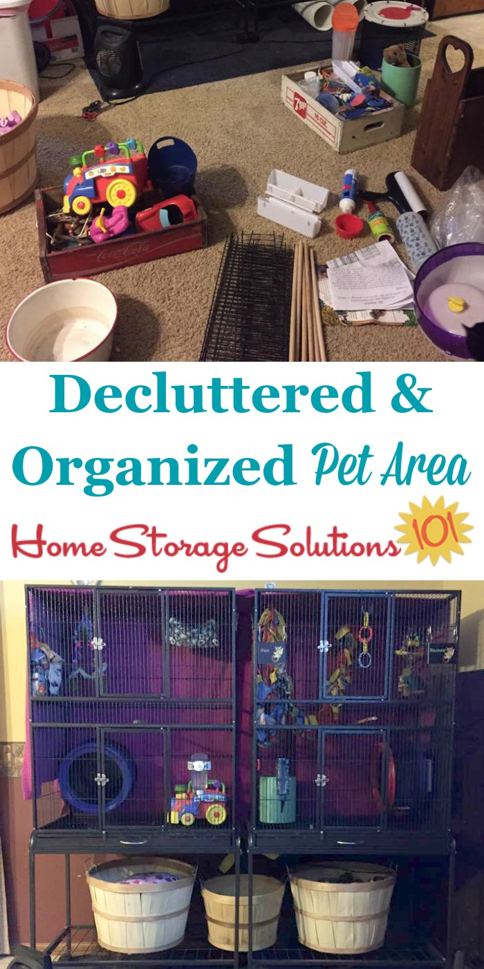 Decluttered and organized pet area, including pet cages, supplies and toys {part of the #Declutter365 missions on Home Storage Solutions 101} #declutter #decluttering