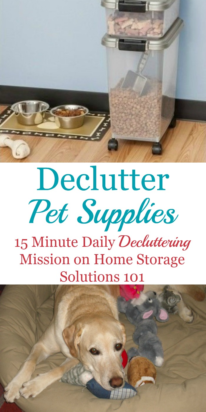 How to #declutter pet supplies and pet toys in your home, including before and after photos from other readers who've done this mission to get you inspired to do it yourself {a #Declutter365 mission on Home Storage Solutions 101} #Decluttering