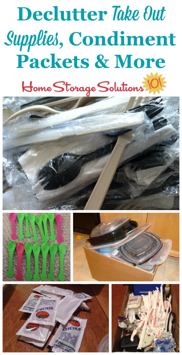 How to declutter take out supplies, condiment packets, plastic silverware and more {#Declutter365 mission on Home Storage Solutions 101}