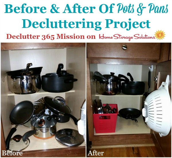 Results of a decluttering project from a reader, Erica, who took the declutter pots and pans mission as part of Declutter 365 on Home Storage Solutions 101.