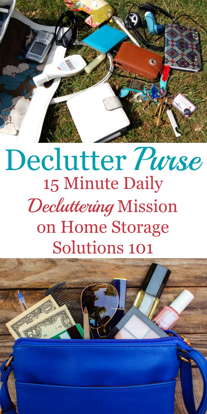 How to #declutter your purse, make it a habit, and a checklist of purse essentials you should keep in your handbag {one of the #Declutter365 Missions on Home Storage Solutions 101} #ClutterControl