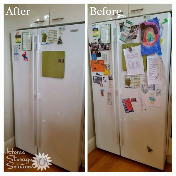 Before and after photos of a simple #Declutter365 mission, to remove clutter from the front of your refrigerator, shown by Malinda. It makes such a difference doesn't it? {featured on Home Storage Solutions 101}