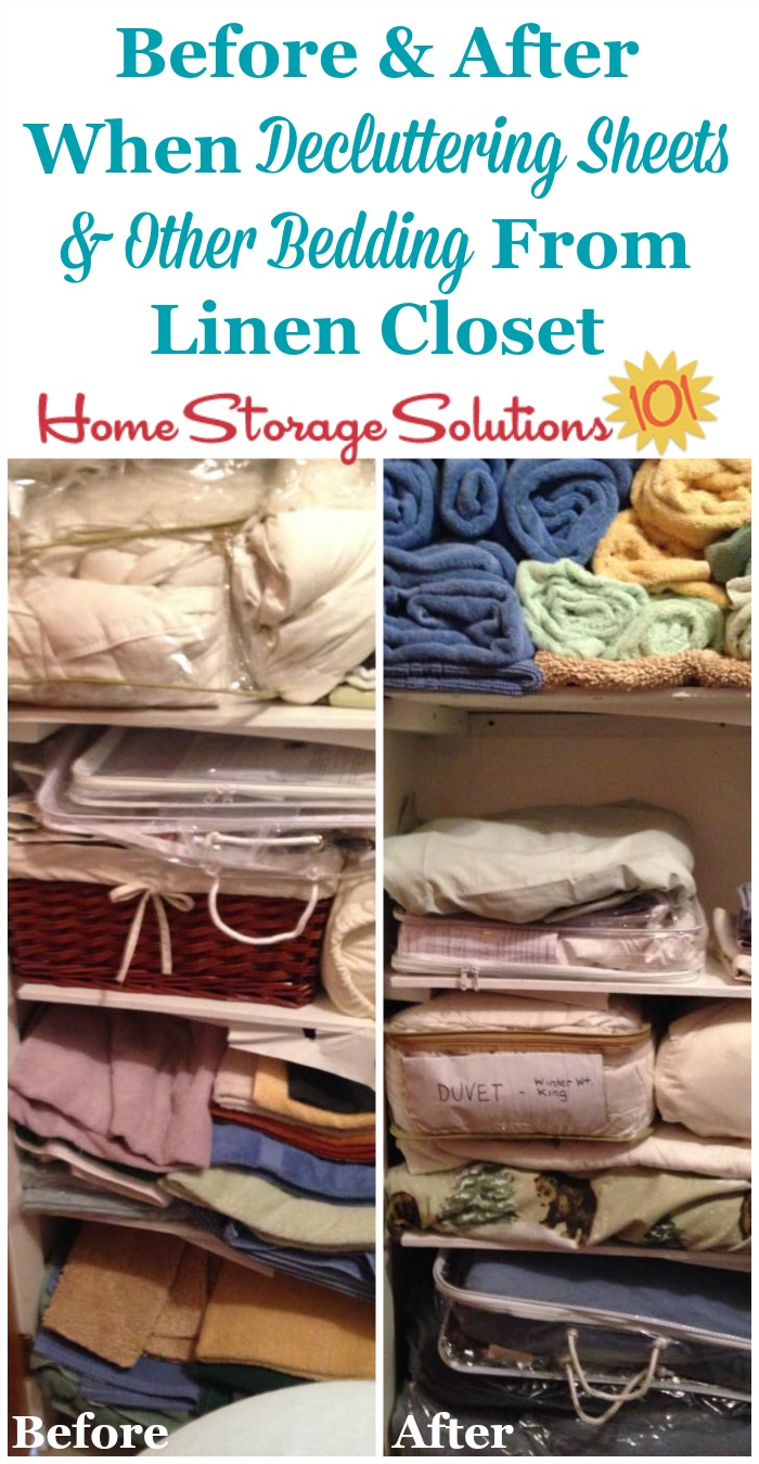 Before and after of a linen closet when a reader, Barbara, decluttered sheets and other bedding {on Home Storage Solutions 101}