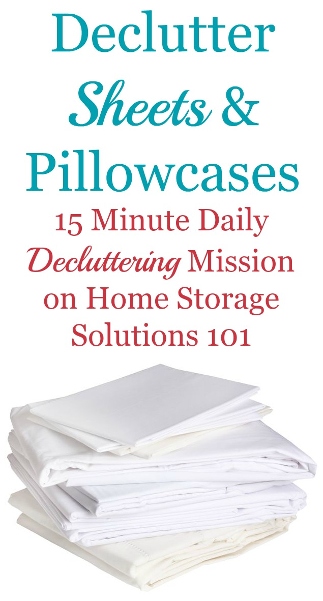 How to #declutter sheets and pillowcases from your linen closet and home, including tips for how many you should have and what to do with ones you get rid of {a #Declutter365 mission on Home Storage Solutions 101} #DeclutterSheets