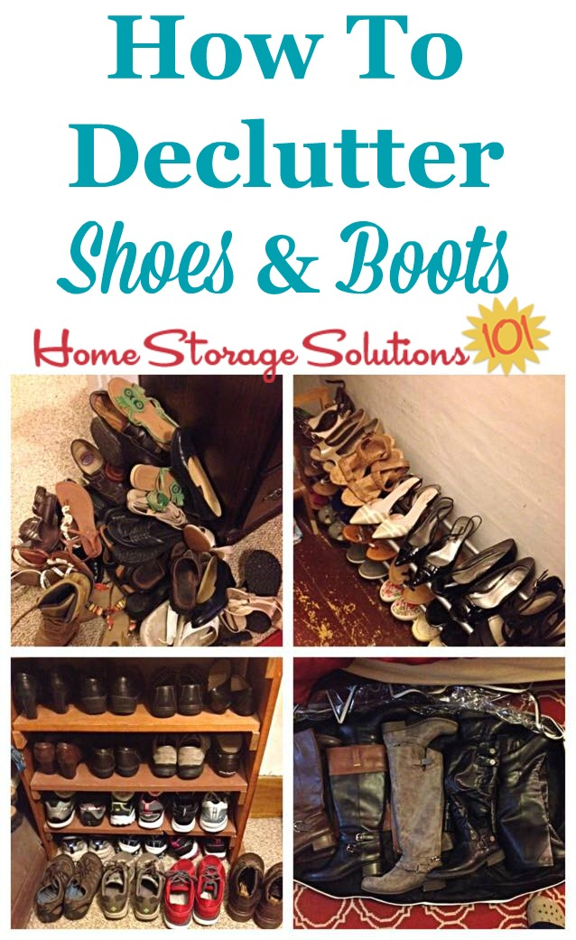 How to declutter shoes and boots to make room for the pairs you actually love, including guidelines for how many pairs of shoes you really need {on Home Storage Solutions 101}