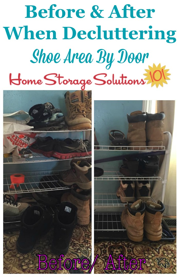 Before and after when decluttering shoe area by the door, to keep the entryway of your home looking nice, plus make it easier for family members to find the shoes they need before leaving the house {on Home Storage Solutions 101}