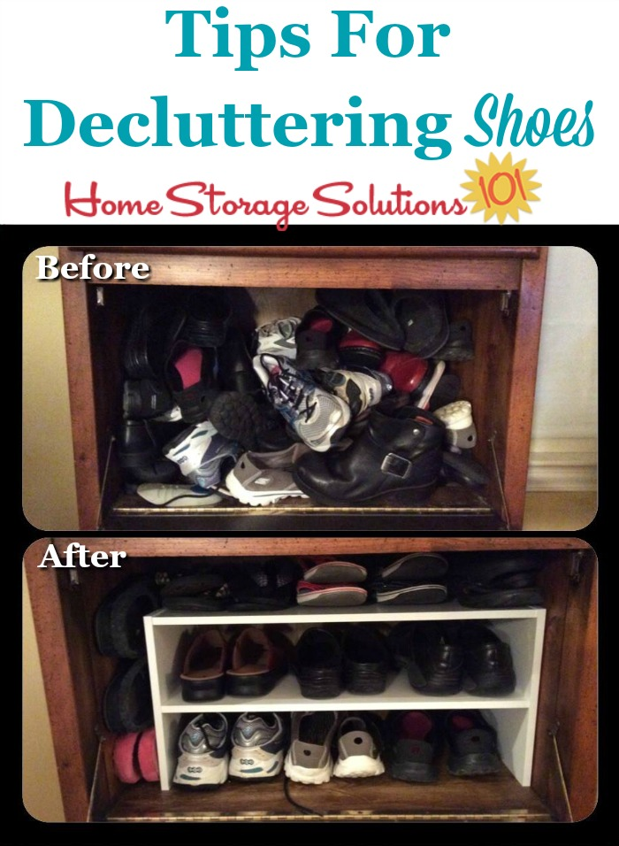 Tips for decluttering shoes from your closet and the entryway, plus guidelines for how many shoes to keep for both adults and kids when you declutter {on Home Storage Solutions 101}