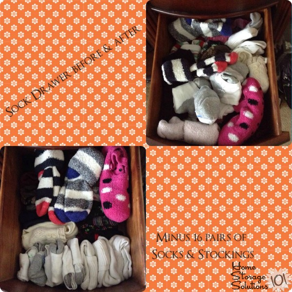 Before and after of sock drawer from a reader, Regina, who did the declutter socks #Declutter365 mission {featured on Home Storage Solutions 101}