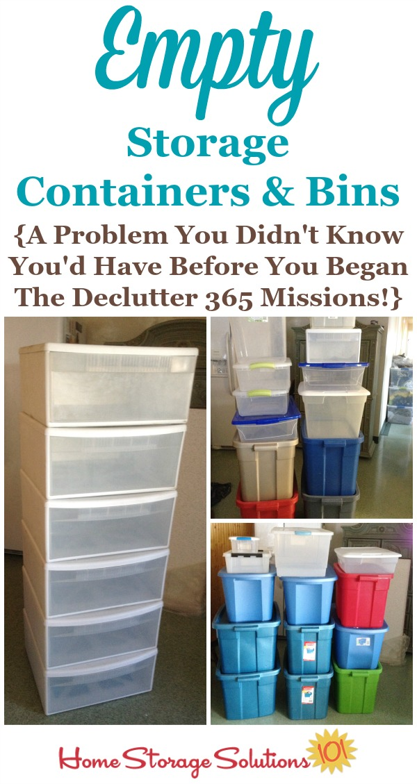 One side effect of decluttering a lot as part of the #Declutter365 daily missions is that you'll end up with lots of empty storage containers and bins, that you'll then have to declutter. Hey, that's the kind of decluttering I like having to do! {featured on Home Storage Solutions 101}