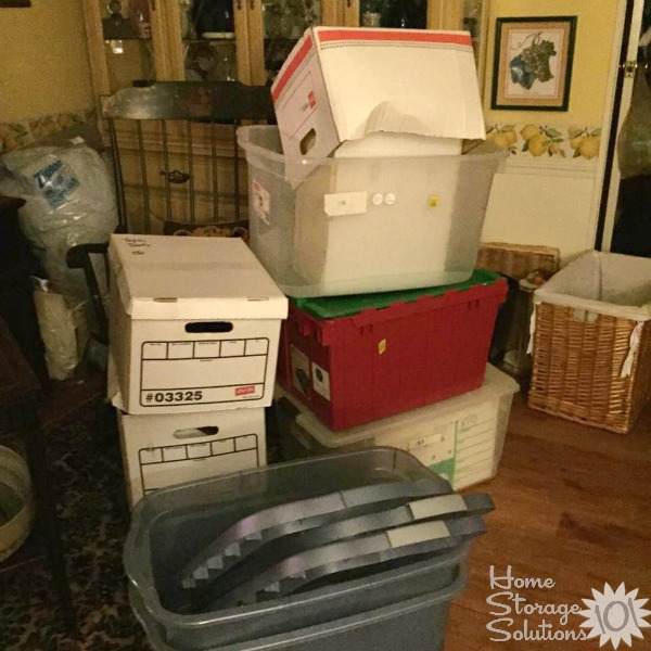 Use your empty boxes and bins from decluttering and use to take things for donation or to sell {featured on Home Storage Solutions 101}