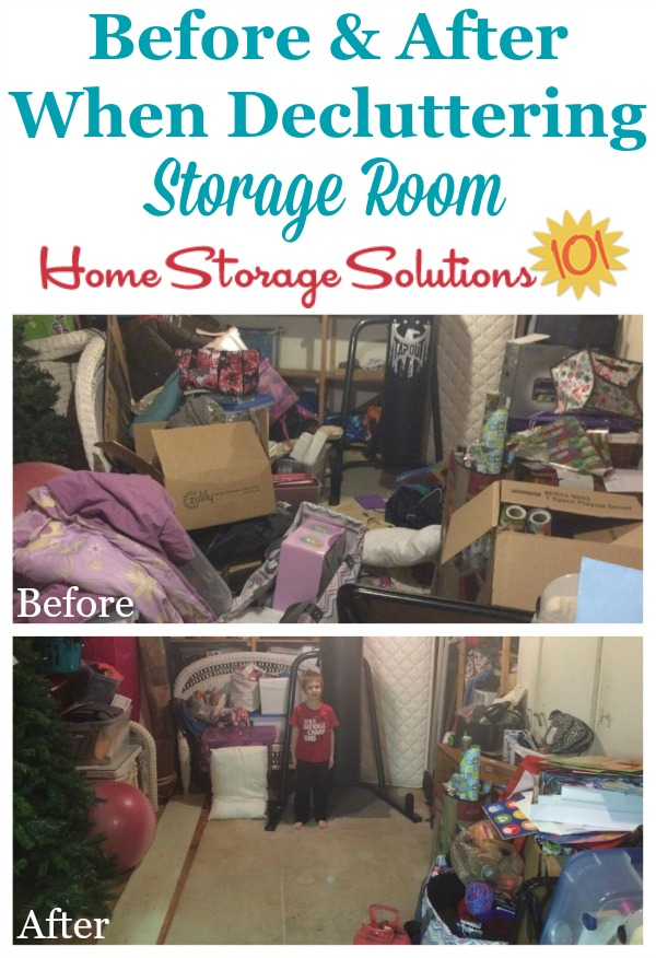 Before and after results when remove storage room clutter {featured on Home Storage Solutions 101}