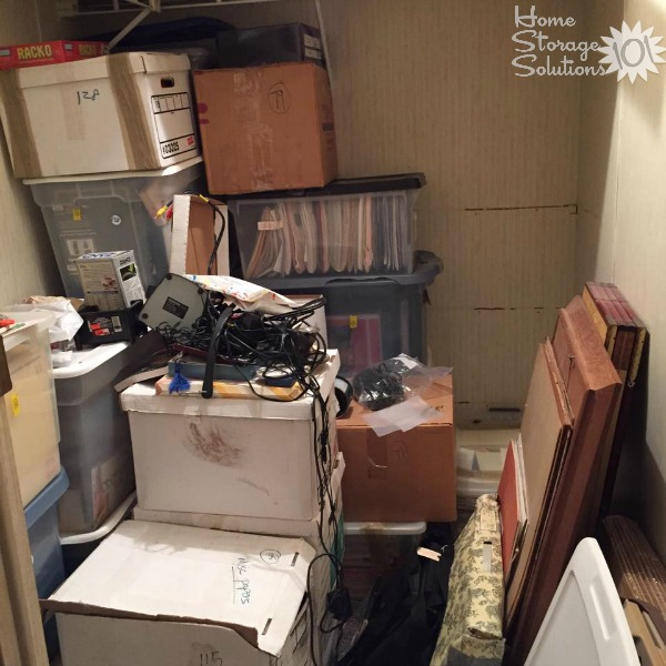 Even more progress during a decluttering project of a storage closet {on Home Storage Solutions 101}