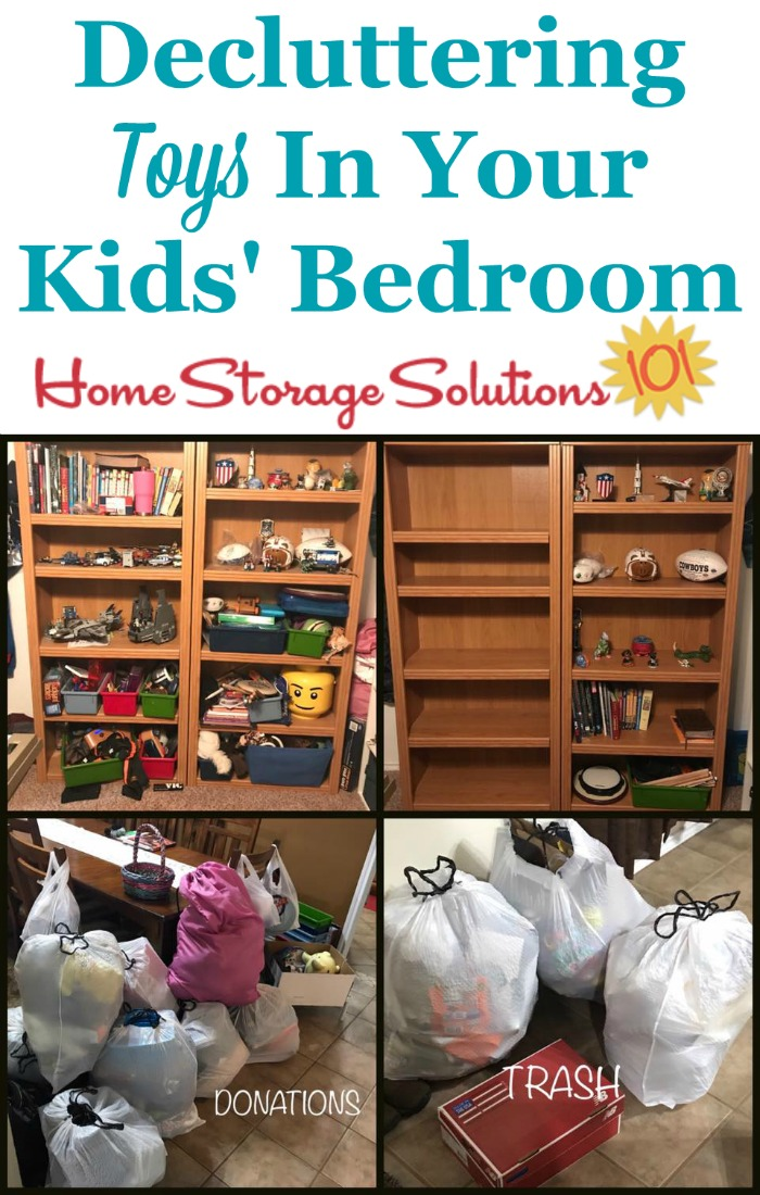 Tips for decluttering kids toys in their bedrooms, including which toys to start with first {on Home Storage Solutions 101}