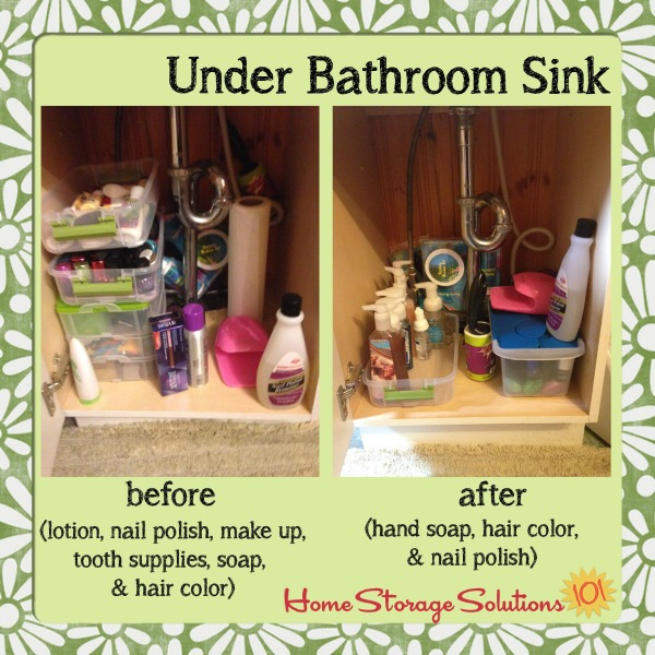 Before and after when a reader, Brandy, decluttered under her bathroom sink {featured on Home Storage Solutions 101}
