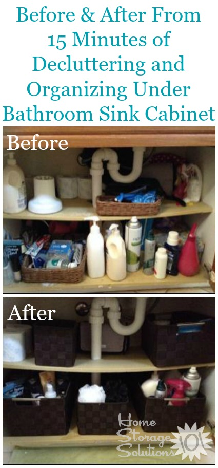 Before and after pictures from Natalie, who took the 15 minute Declutter 365 mission under her bathroom sink. Great results! {featured on Home Storage Solutions 101}
