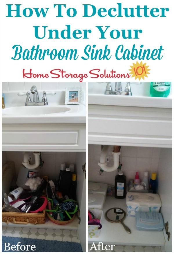 Simple How to declutter under your bathroom sink cabinet removing clutter and adding containers to organize