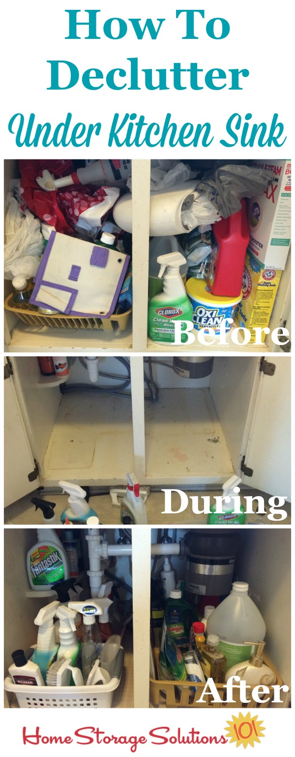 How to declutter under your kitchen sink cabinet to remove the mess so it is functional and useful space in your home {on Home Storage Solutions 101}