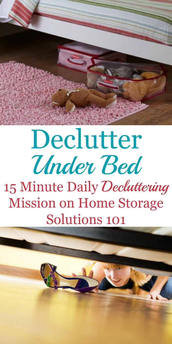 How to declutter under the bed, including tips for removing clutter, what should or could be stored under your bed, cleaning out the dust bunnies from this space, and before and after photos to help inspire you to tackle this task for yourself {on Home Storage Solutions 101}