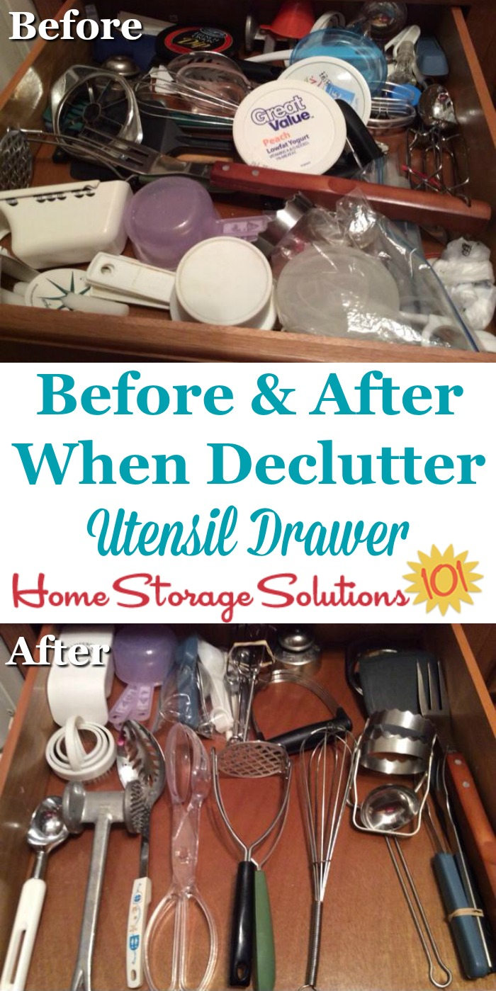 Before and after photos, plus instructions for how to #declutter your kitchen utensil drawer {on Home Storage Solutions 101} #Declutter365 #KitchenOrganization