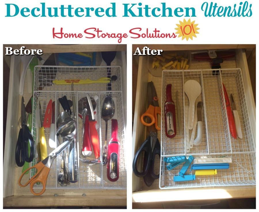 Decluttered kitchen utensils from a reader, Jane, who did the #Declutter365 mission {on Home Storage Solutions 101}