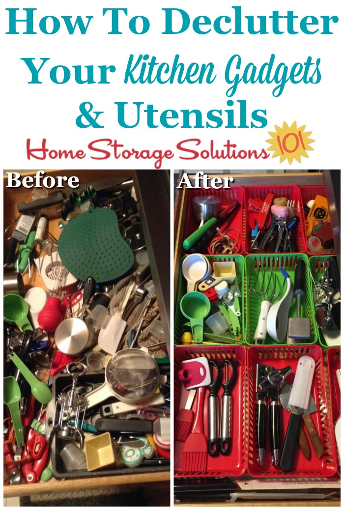 How to #declutter your kitchen gadgets and utensils {on Home Storage Solutions 101} #Declutter365 #KitchenOrganization