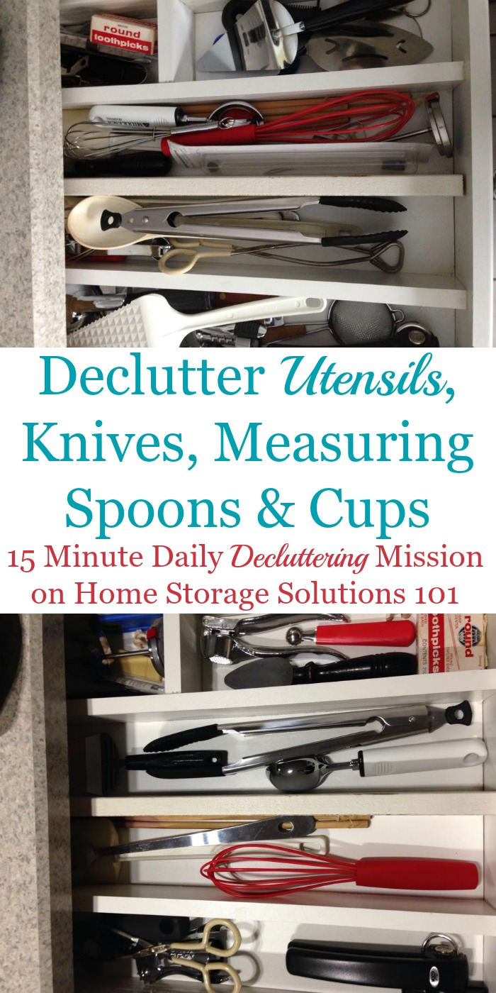 How to #declutter utensils, kitchen knives, measuring cups and spoons and other kitchen gadgets, including lots of before and after photos from readers who've already done this #Declutter365 mission {on Home Storage Solutions 101} #KitchenOrganization