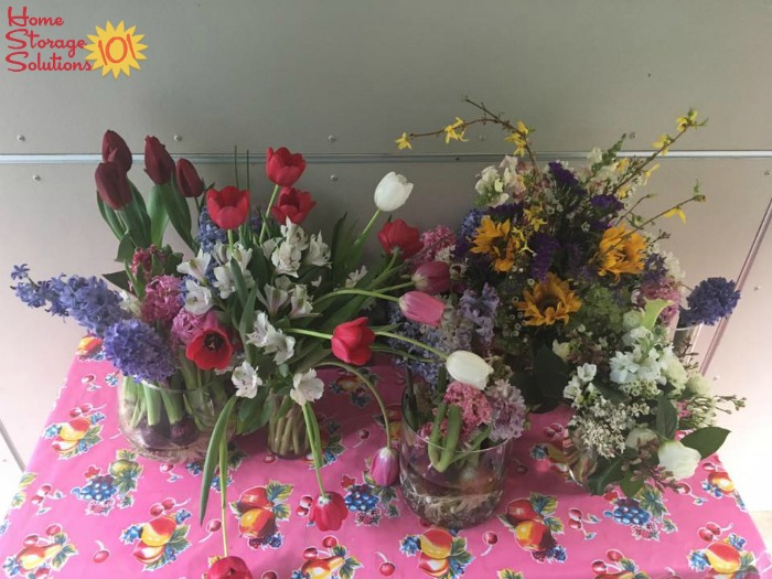 Flowers from Valentine's Day party which were decluttered, by donating them to neighbors {on Home Storage Solutions 101}