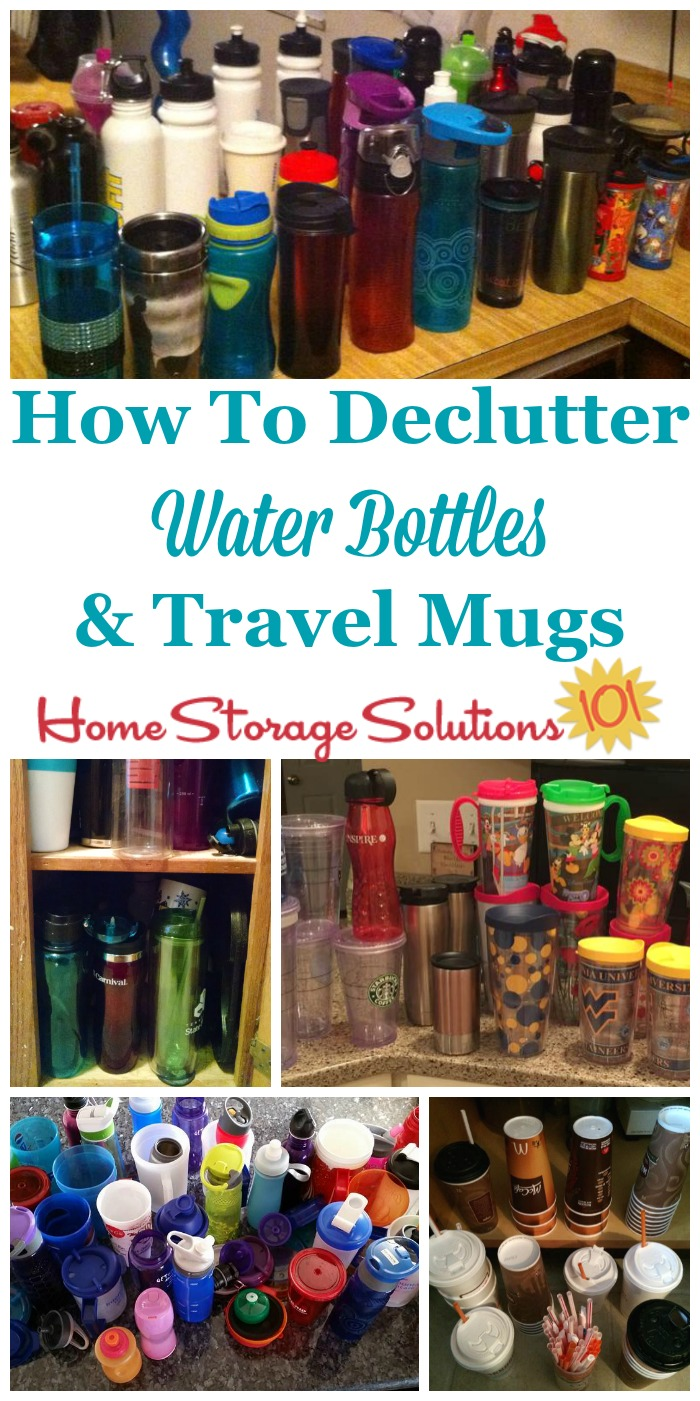 How to #declutter water bottles and coffee mugs from your kitchen, including tips for which types of bottles and cups to get rid of, as well as a rule of thumb for how many to keep {on Home Storage Solutions 101} #Decluttering #KitchenOrganization