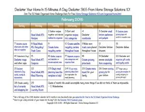 February Declutter Calendar
