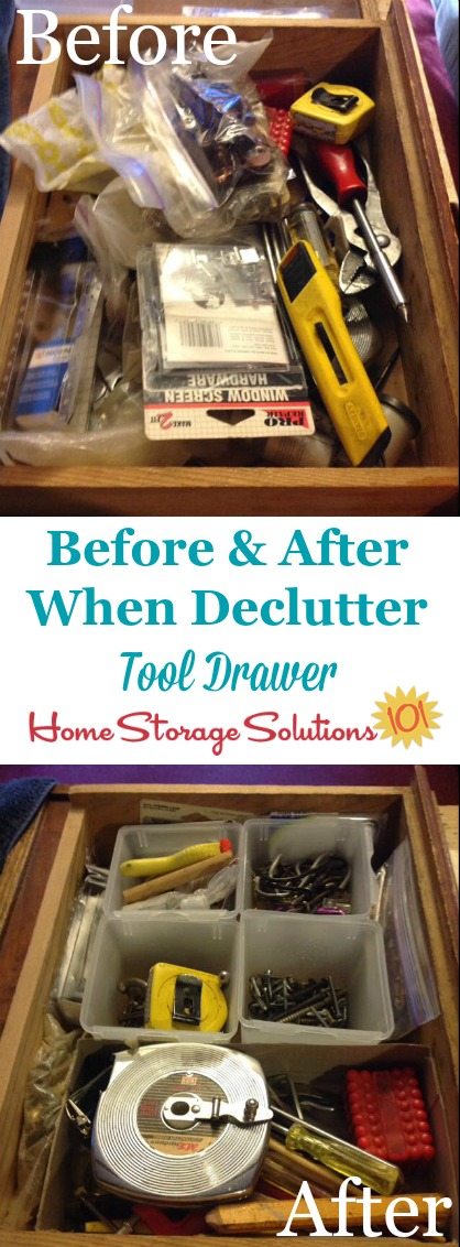 Before and after results when Cindie decluttered her tool drawer {featured on Home Storage Solutions 101}