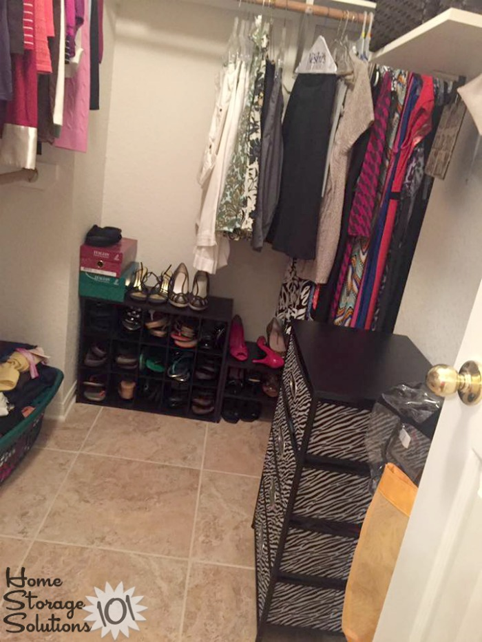 Decluttered and organized closet where closet floor clutter removed {featured on Home Storage Solutions 101}