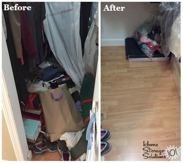 Before and after when you clean out your closet floor {on Home Storage Solutions 101}