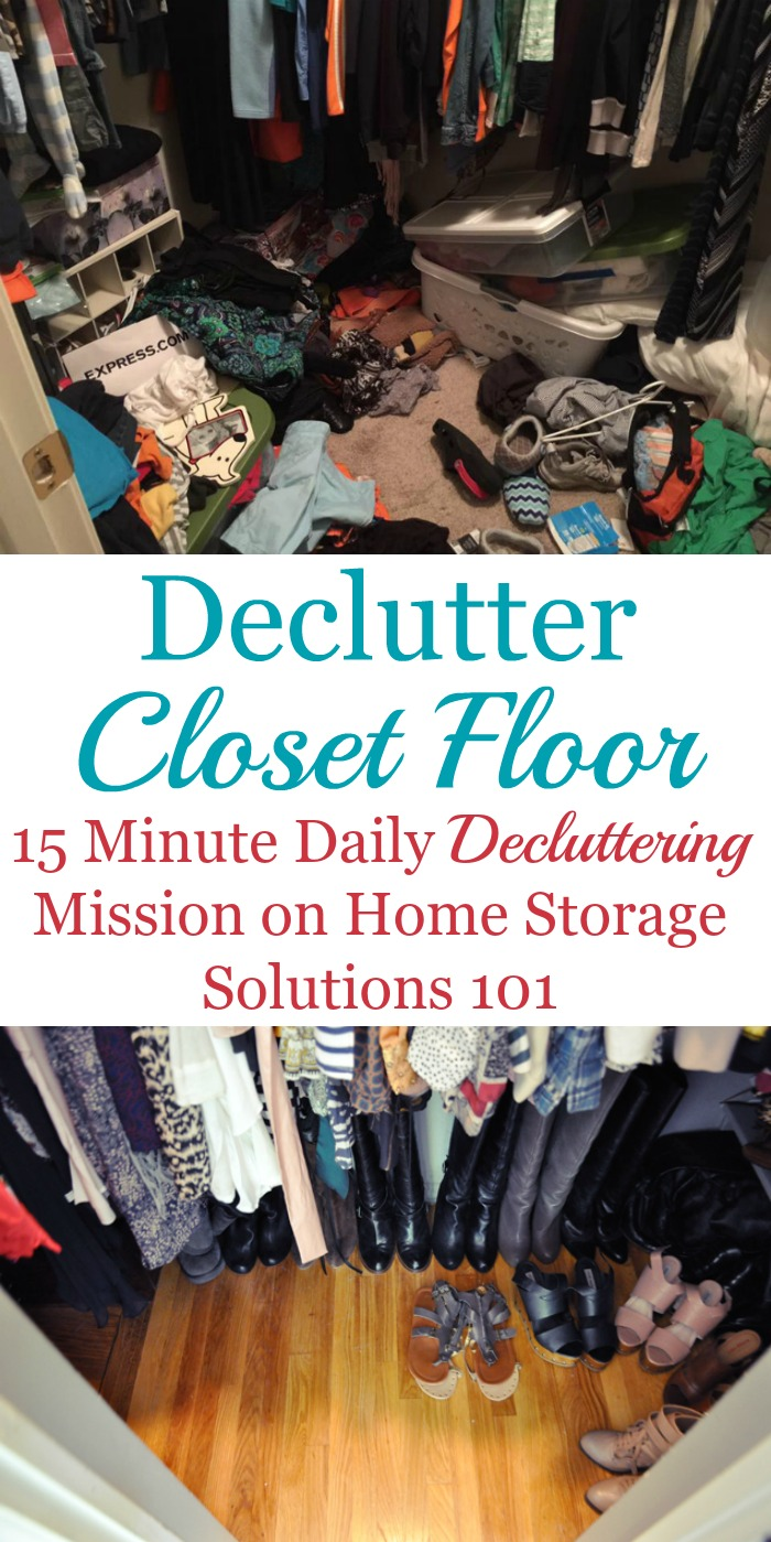 Tips and ideas for decluttering your closet floor, including how to do it and lots of before and after photos from readers to get inspired to tackle and clean out your closet {on Home Storage Solutions 101}