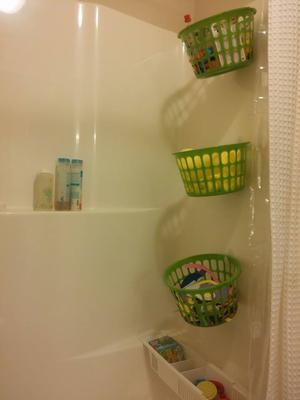 Dollar Store Storage System For Our Bath Toys & Bath Toy Storage u0026 Organization Ideas