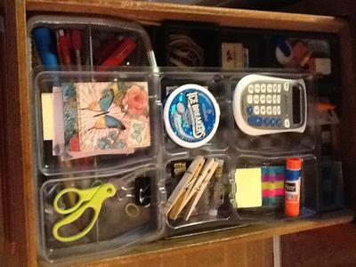 Drawer with top tier moved to other side.