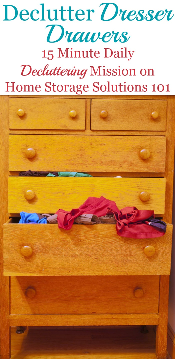 How to get rid of folded clothing and dresser drawer clutter, for both adults and kids {a #Declutter 365 mission on Home Storage Solutions 101} #DeclutterDrawers #DeclutterClothes