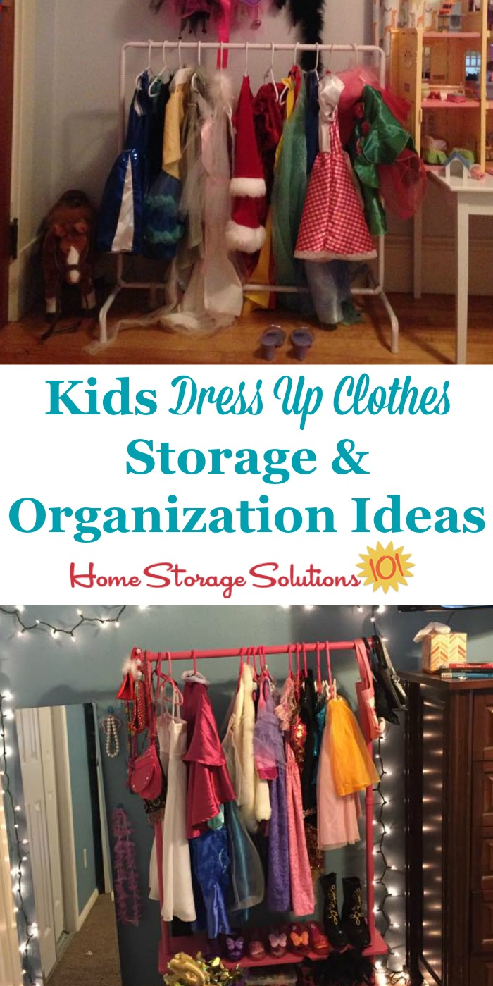 Kids dress up clothes storage and organization ideas, whether your kids have a lot of costumes or just a few {on Home Storage Solutions 101}