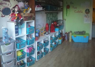 Easy DIY Playroom Idea Lots Of Plastic Baskets On Shelves & Kids Playroom Storage u0026 Organization Ideas