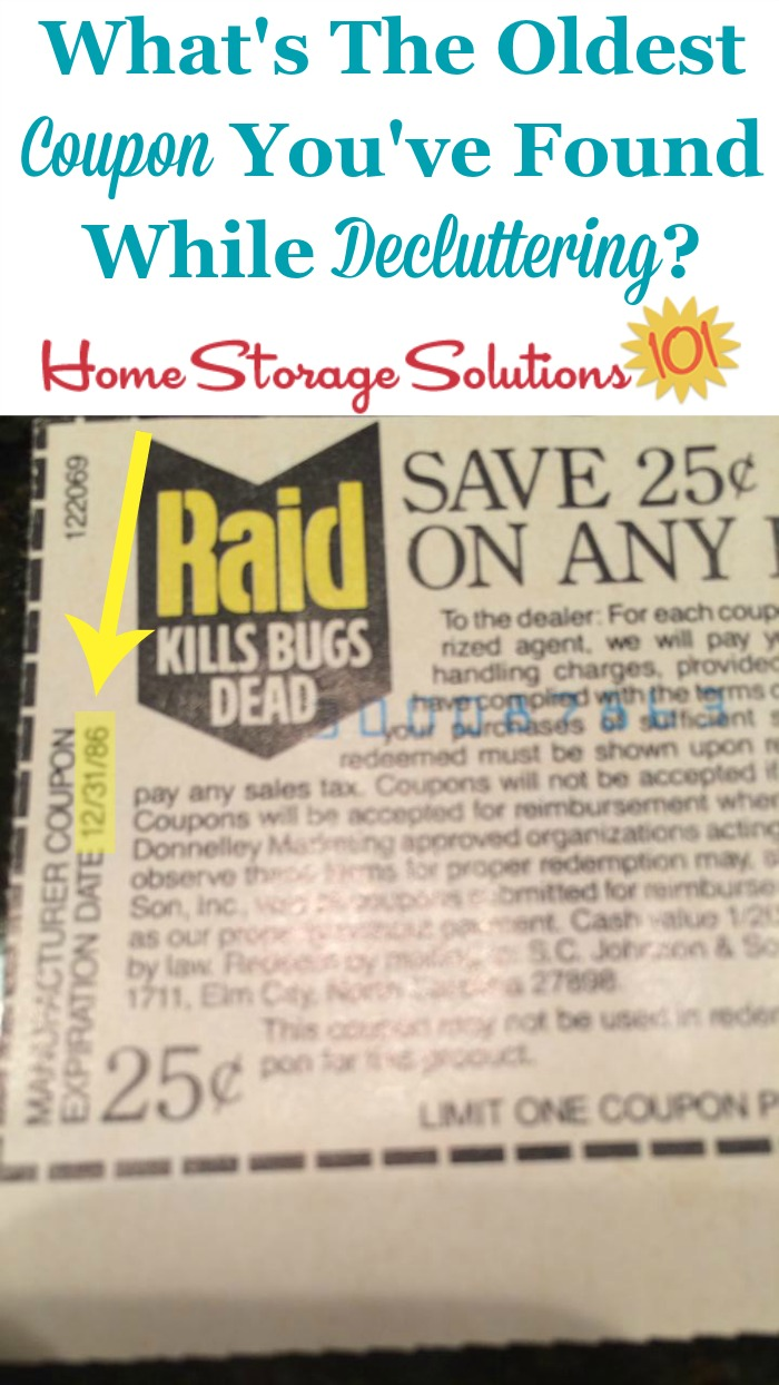 When #decluttering expired coupons you may come across some very old ones, like this participant of the #Declutter365 missions did! {on Home Storage Solutions 101} #Couponing