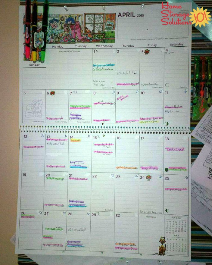 Family Calendar That Is Color Coded Using Highlighters So It S Easy To See What Each