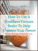 using Food Saver vacuum sealer to organize freezer