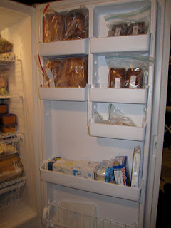 Organized upright freezer door