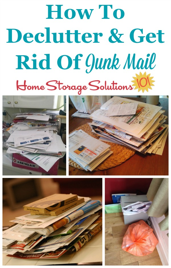 How to declutter and get rid of junk mail from your home, including both the accumulated piles, and then how to keep it from re-accumulating in the future {on Home Storage Solutions 101}