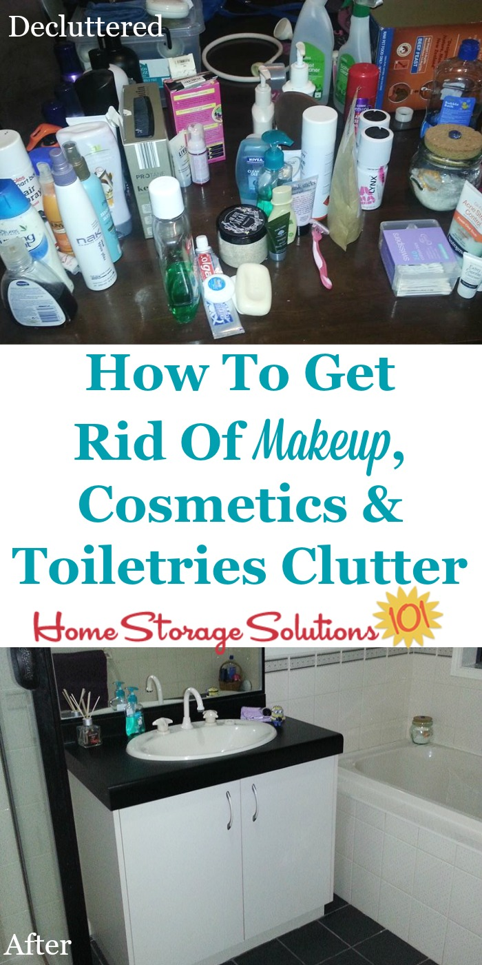 How to get rid of makeup, cosmetics, toiletries and similar beauty and personal care products in your home that you're ready to declutter, plus tips for what to do with the stuff you've decided to remove from your home {on Home Storage Solutions 101}
