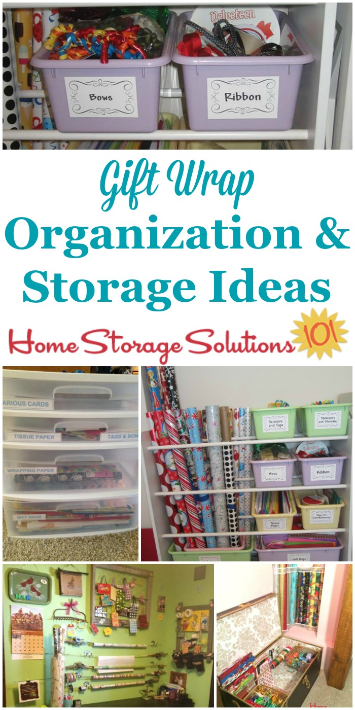 Lots of ideas from readers for gift wrap organization and storage that really work, including DIY organizers {on Home Storage Solutions 101} #GiftWrap #OrganizingTips #HolidayOrganizing